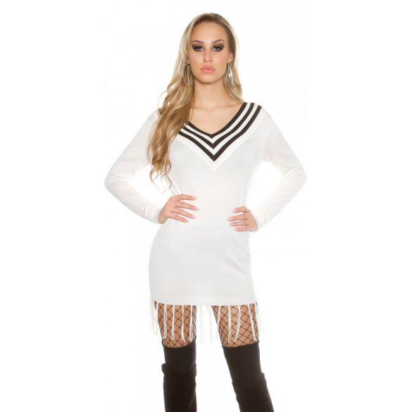 Fehér női V nyakú kötött ruha