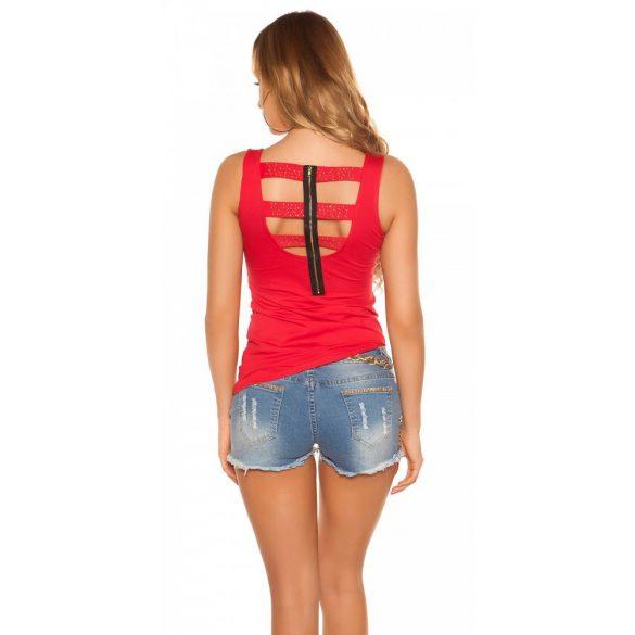 Piros női  top nyomott mintával