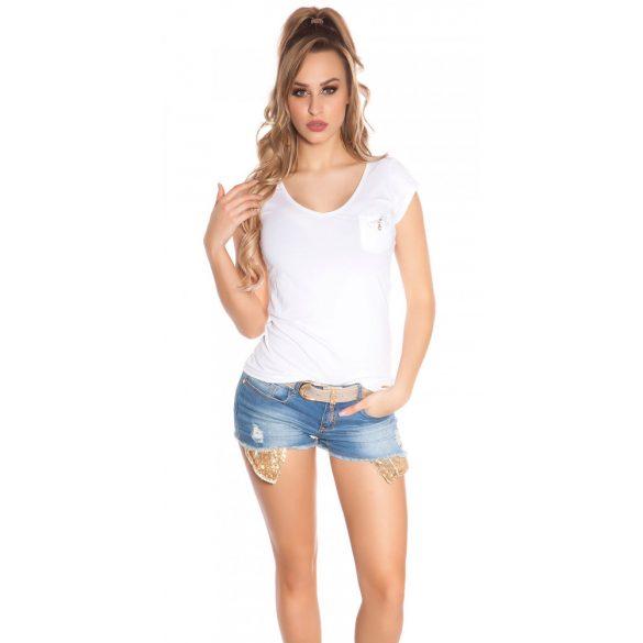 Bézs női rövidujjú top hátán strasszkövekkel