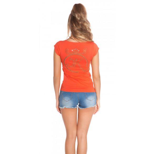 Korall női rövidujjú top hátán strasszkövekkel