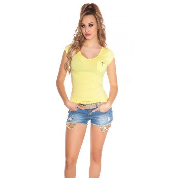 Sárga női rövidujjú top hátán strasszkövekkel