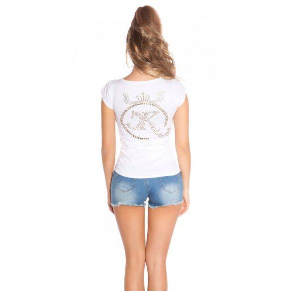 Rózsaszín női rövidujjú top hátán strasszkövekkel