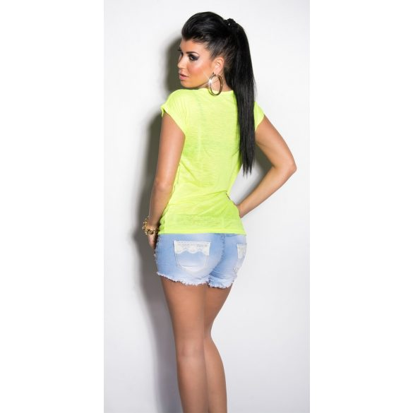 neon citromsárga női póló nyomott mintával