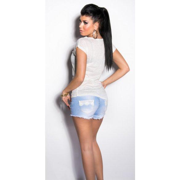 Fehér női póló nyomott mintával