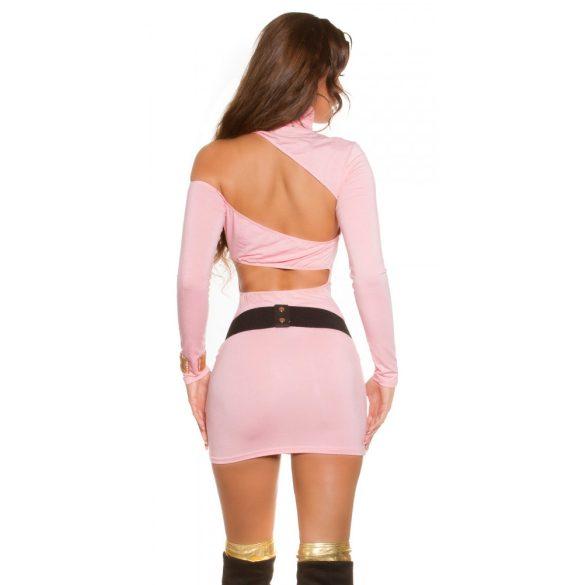 Rózsaszín női testhezálló garbó nyakú ruha