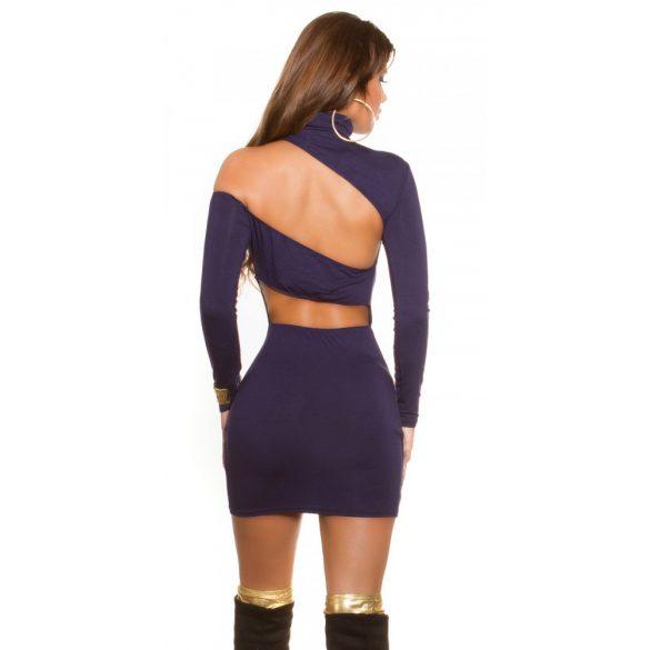 Kék női testhezálló garbó nyakú ruha