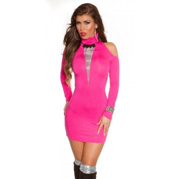 Pink női testhezálló garbó nyakú ruha