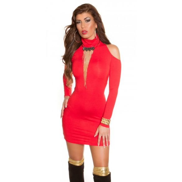 Piros női testhezálló garbó nyakú ruha
