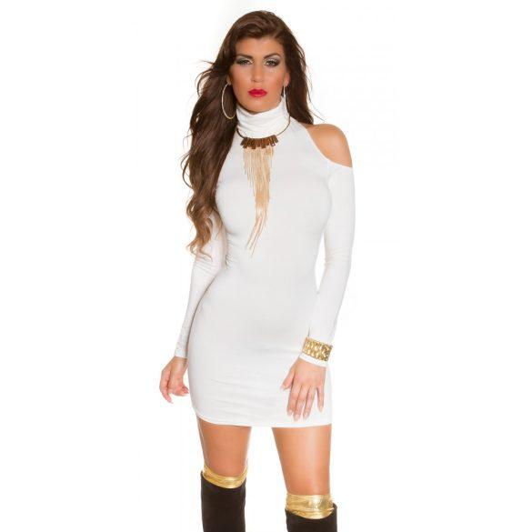 Fehér női testhezálló garbó nyakú ruha