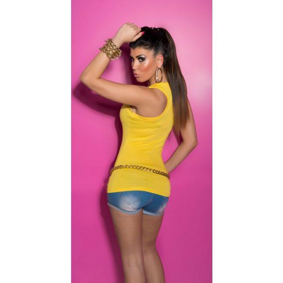 Sárga női láncdekoros top