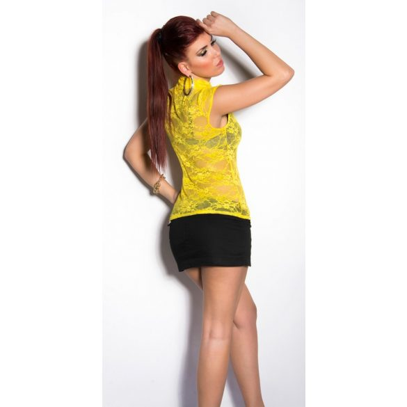 Sárga női csipke rövidujjú felső