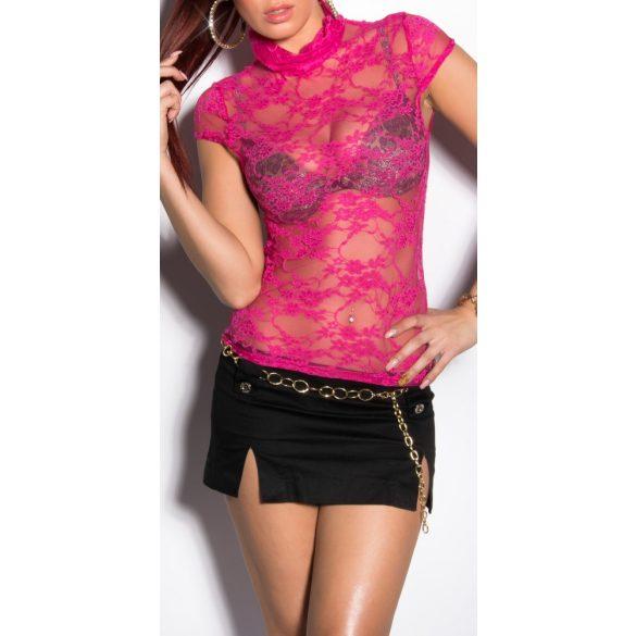 Rózsaszín női csipke rövidujjú felső