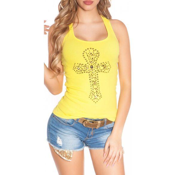 Sárga női strasszköves felső