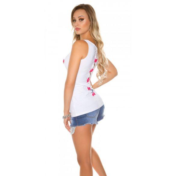 Rózsaszín női tank top sztrasszkövekkel