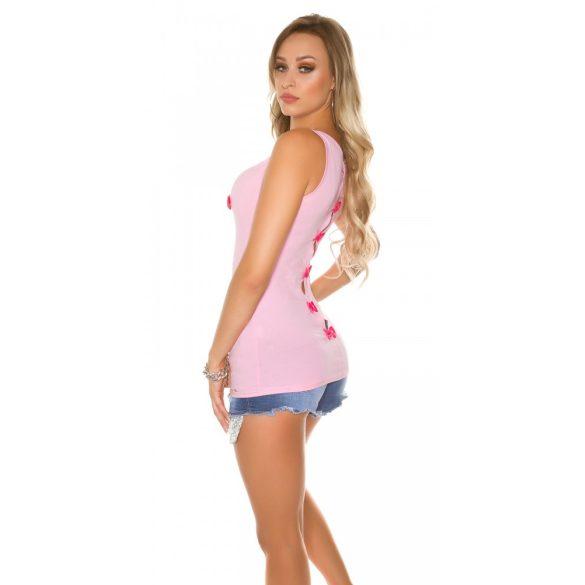 Pink női tank top sztrasszkövekkel