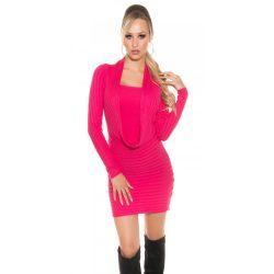 Pink női kötött hosszú ujjú ruha