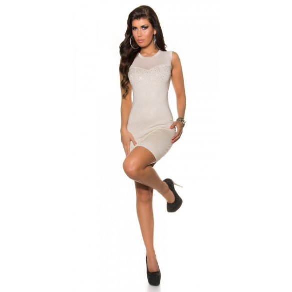 Bézs női ujjatlan ruha strasszkövekkel