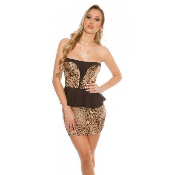 Állatmintás-fekete női ujjatlan alkalmi ruha