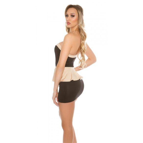 Fekete-bézs női ujjatlan alkalmi ruha