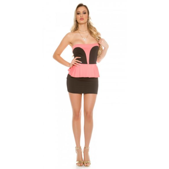 Fekete-rózsaszín női ujjatlan alkalmi ruha