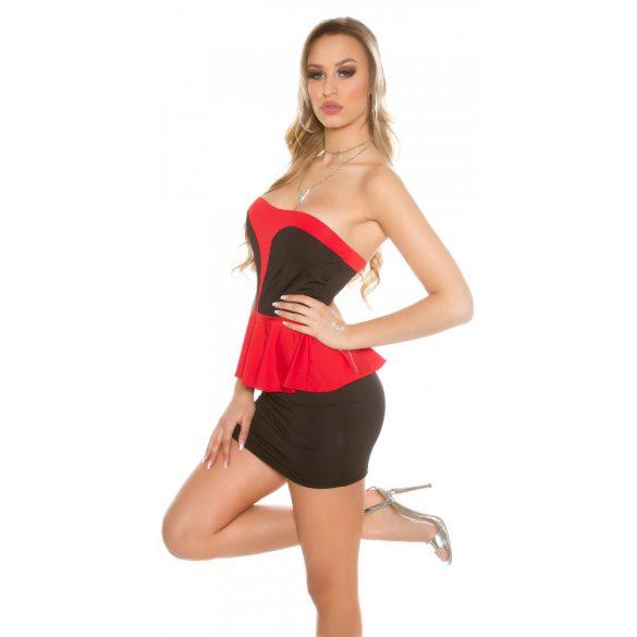 Fekete-piros női ujjatlan alkalmi ruha