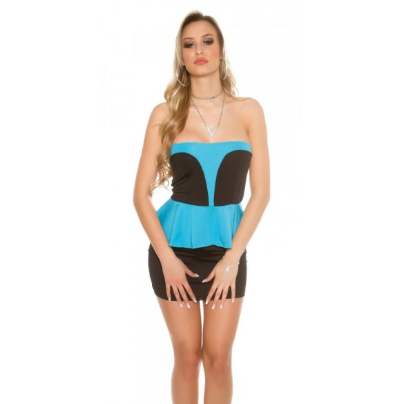 Fekete-kék női ujjatlan alkalmi ruha