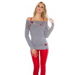 Szürke carmen nyakú hímzett mintás kötött pulóver