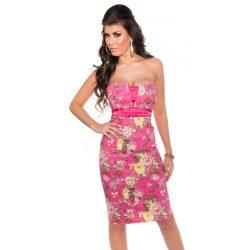 Pink női virágos pánt nélküli ruha