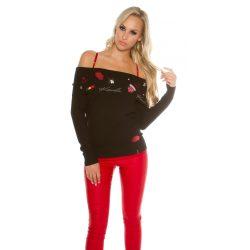 Fekete carmen nyakú hímzett mintás kötött pulóver