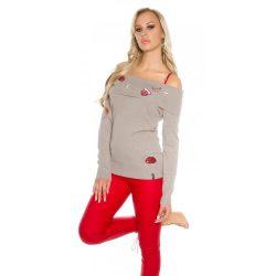 Barna carmen nyakú hímzett mintás kötött pulóver