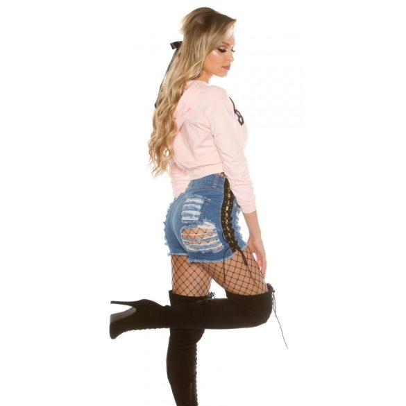 Rózsaszín női kapucnis Hoodie felső BackStage felirattal