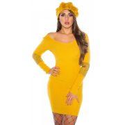 Sárga női carmen nyakú női ruha