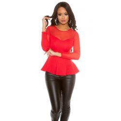 Piros női elegáns  felső tüllel kombinálva