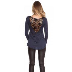 Kék női felső hátán csipke berakással
