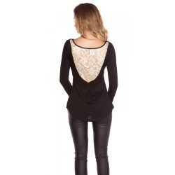 Fekete női felső hátán csipke berakással