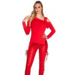 Piros női egyedi asszimetrikus felső