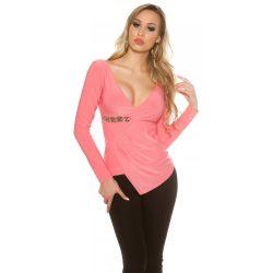 Rózsaszín női átlapolt felső