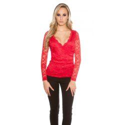 Piros női elegáns csipke felső