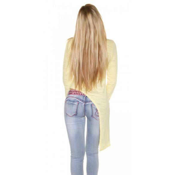 Sárga női hosszú ujjú aszimmetrikus felső