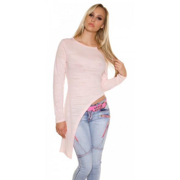 Rózsaszín női hosszú ujjú aszimmetrikus felső