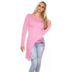 Pink női hosszú ujjú aszimmetrikus felső