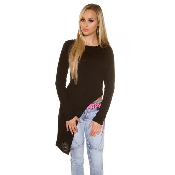 Fekete női hosszú ujjú aszimmetrikus felső