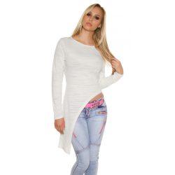 Fehér női hosszú ujjú aszimmetrikus felső