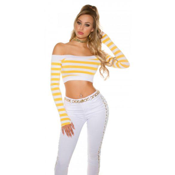 Sárga női kötött haspóló