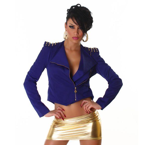 Kék női átmeneti kabát szegecsekkel