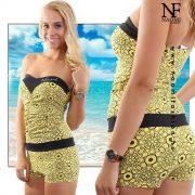 Sárga-fekete mintás női short overal Naomi