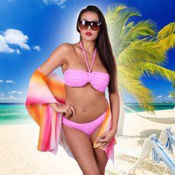 Kék női fodros bikini NAOMI