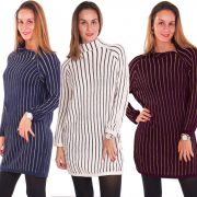 Női kötött oldalt cipzáras csíkos tunika ruha több színben
