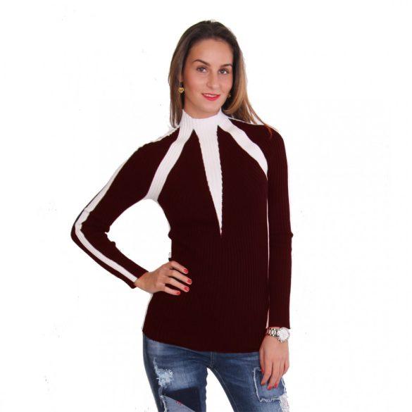 Bordó fehér női kötött pulóver