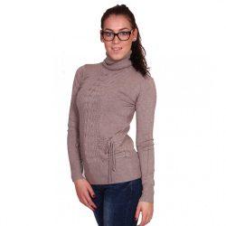 Homok színű női kötött garbó nyakú pulóver